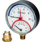 Термоманометр радиальный в комплекте с автоматическим запорным клапаном. Корпус Dn 80 мм STOUT