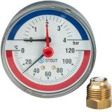 Термоманометр аксиальный в комплекте с автоматическим запорным клапаном. Корпус Dn 80 мм STOUT