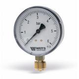 Манометр Watts 10 Bar (80 mm) нижнее подключение пластик 1/2